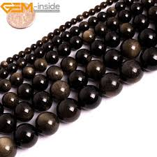 <b>Natural Golden Obsidian Gemstone</b> Round Loose Beads For ...