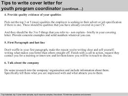 youth program coordinator cover letter  4 tips to write cover letter for youth program coordinator