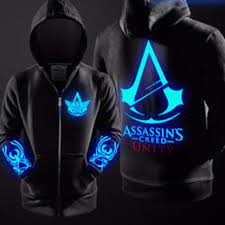 Assassin Creed Zipper sweater Anime Coat Clothes Noctilucent ...