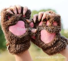 Free Shipping, Cute Girls Winter <b>Cat</b> Claws Gloves Mittens Paws ...