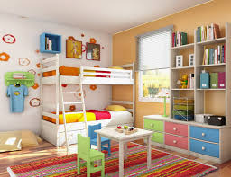 colorful girls bedroom interior design ideas with fascinating white bunk beds and wall shelves also colorful storage cabinet equipped with striped rug bedroom furniture interior fascinating wall