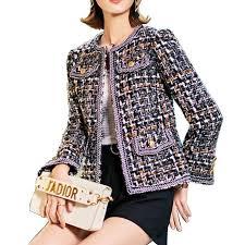 2018 Autumn Winter Vintage Tweed <b>Jackets Women Short</b> Woolen ...