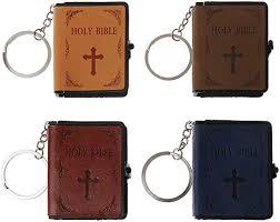 Mikiya Holy Bible Book Leather Key <b>Ring Miniature</b> Paper Spiritual ...