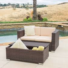 Magnificent Westlake Outdoor Brown PE Wicker Loveseat U0026amp Ottoman With Durable And Soft Built A Metal Frame Foundation