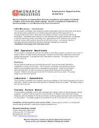 Machine Operator job description Resume objective summary of