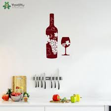 <b>YOYOYU Wall Decal</b> Wine Bottle Glass Grapes Bar Alcohol Vinyl ...