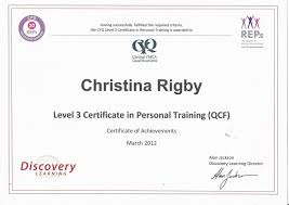 qualifications chrissy rigby personal training qcf