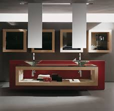luxurious style of modern bathroom vanities nuanced in red combined with creative wall storage bathroom magnificent contemporary bathroom vanity lighting style