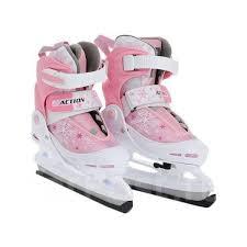 <b>Коньки ледовые раздвижные Action</b> (розовый/белый) PW-211F-1 ...