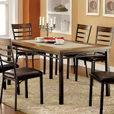 Industrial Style Kitchen Table Furniture Of America Cm3828t Hailey Industrial Style Stone Insert