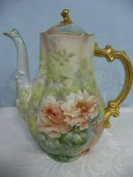 Vtg <b>Tea Pot</b> Ceramic & <b>Metal</b> Silver Tall <b>Floral</b> Calla Lillie <b>Flower</b> ...