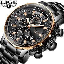eFlash| <b>LIGE</b> New Sport Chronograph <b>Mens Watches Top</b> Brand