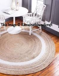4x4 Feet Braided <b>Rug</b> Round Floor <b>Mat Handmade</b> Reversible <b>Jute</b> ...