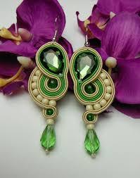 <b>Lime</b> green oriental long earrings soutache from Soutacheria by ...