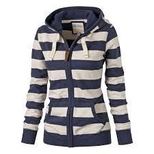 <b>Stylish Hooded Long</b> Sleeve Striped <b>Zippered</b> Women's <b>Hoodie</b> | My ...