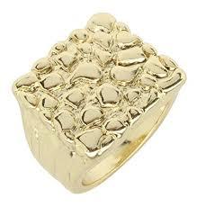 Nugget Design 14k <b>Gold Plated</b> Square Pinky Fashion Bling <b>Hip</b> ...