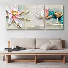 2019 <b>Laeacco Canvas Painting Calligraphy</b> 3 Panel Chinese Lotus ...