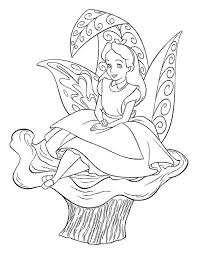 Small Picture Alice Sitting on the Flower in Alice in Wonderland Coloring Page