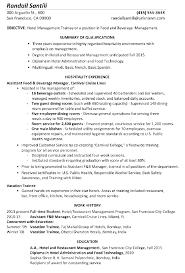 resume sample  hotel management traineefunctional resume sample hotel management trainee