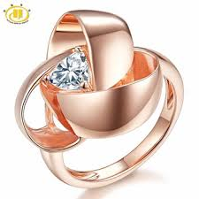 HUTANG Natural White Topaz Solid 925 Sterling Silver Rose Gold ...