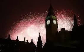 Fireworks explode behind the Houses of Parliament and <b>Big Ben</b> on ...