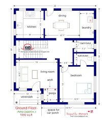 Floor plan and elevation of sq feet villa   Kerala home    Ground floor plan