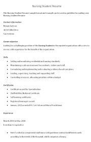 Resume Examples For College Students With Little Experience     Sample Nursing Student Resume  Lflaudio co