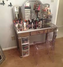 unique hayworth vanity makeup table with three panel mirror frames and plastic storage plus clear acrylic charming makeup table mirror