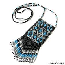 Кулон в этническом стиле - серый / белый / голубой | Сумки из ...