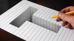 Drawing a <b>T</b> Hole in Line Paper - Easy Trick Art Optical Illusion ...