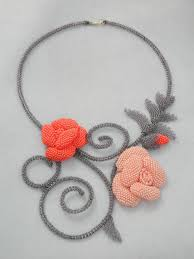 Bead embroidery necklace, rose and grey, <b>seed beads necklace</b> ...