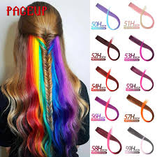 Pageup Rainbow Synthetic <b>Fake</b> Hair Pieces <b>Long Straight</b> Ombre ...
