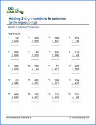 Grade 3 Addition Worksheets - free & printable | K5 LearningGrade 3 Addition Worksheet adding 3-digit numbers in columns (with regrouping)