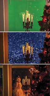 the two different backgrounds used actually alter the mood of the scene and identify the location even though the foreground plate is the same warm holiday alter lighting