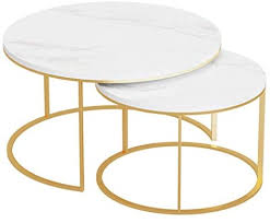 Modern <b>Coffee Table</b> (<b>2 PCS</b>) Gold Metal Base Nesting Stackable ...