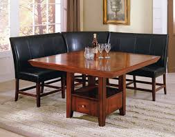 dining room designer furniture exclussive high: dining  dining room furniture square brown wooden dining table and l shaped black leather bench with back on beige rug with red dining chair also kitchen dining table inspiring dining room design ideas using x