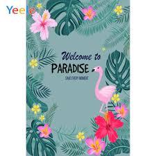 <b>Yeele</b> Flamingo <b>Photozone</b> Tropical Palm <b>Tree</b> Flower Summer ...
