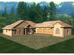 Duarte Luxury Ranch Home Plan D    House Plans and MoreL Shaped Luxury Ranch House Perfect For Sunbelt Regions