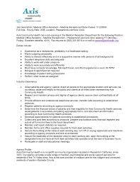 medical office resume sample  seangarrette coresume templates receptionist  x resume templates receptionist medical receptionist resume smlf   medical office resume