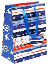 """<b>Пакет подарочный бумажный</b> """"Морская тематика"""", 17,8x22,9x9,8 ..."""