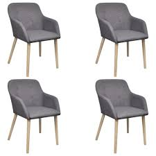 <b>Oak Indoor Fabric Dining</b> Chair Set 4 pcs with Armrest Dark Grey ...