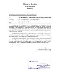 memorandum from the executive secretary on release of official memo