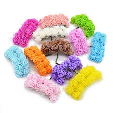 12/<b>36/72</b>/<b>144pcs Mini Foam</b> Rose Artificial Silk Flowers for Wedding ...