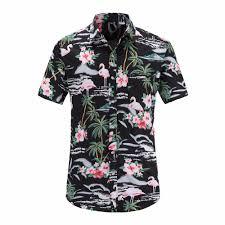 Jeetoo <b>Mens</b> Casual <b>Flower</b> Flamingos Print <b>Shirt</b> Button Down Slim ...