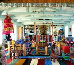 bohemian living room with wooden furniture and colorful fabrics bohemian furniture