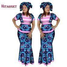 <b>Hitarget 2018 African</b> Women 2 Piece Set Dashiki Cotton Top and ...