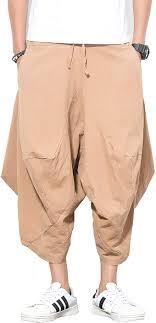 <b>Mens</b> Plain Wide Leg Baggy Harem <b>Pants Loose</b> Fit Comfort <b>Casual</b> ...