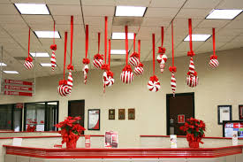 cheap christmas decor: creative inspirational work place christmas decorations ideas inspiration beautiful handcrafted red ribbon hanging on western
