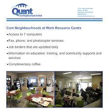 core neighbourhoods at work quint development saskatoon sk services for job seekers