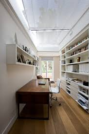 industrial office storage home office contemporary with wood floors long room ceiling treatment built office storage